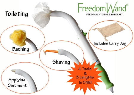 Freedom Wand Personal Hygiene Aid Long Handle Toileting Aid