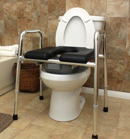 Padded Seat Raised Toilet Frame Bathroom Aid With
