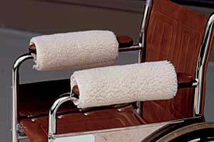 Soft Wheelchair Armrest Covers in Sherpa