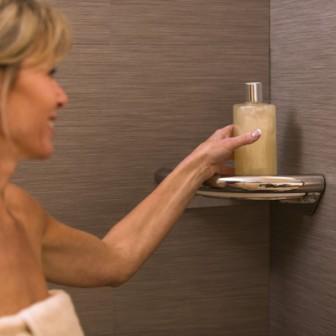 Corner Shower Shelf with Integrated Handrail