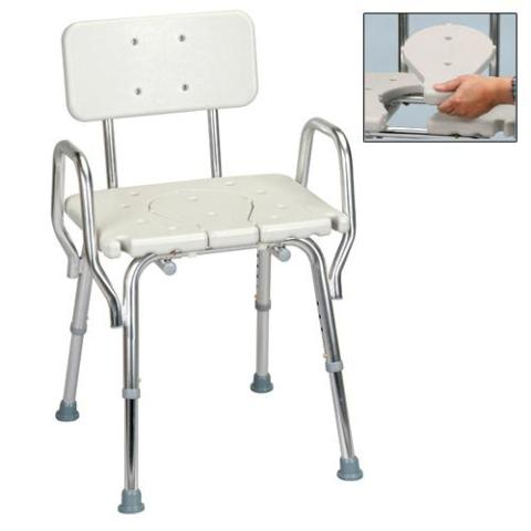 Shower Chair with Arms, Back & Replaceable Cut Out Seat