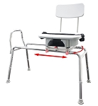 Eagle Snap-N-Save Sliding Transfer Bench with Cut-Out Swivel Seat 77663