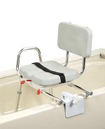 Extra Short Sliding Tub-mount Transfer Bench with Padded Swivel Seat & Back