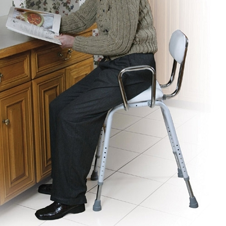All Purpose Work Stool With Padded Seat And Back Hip Chair