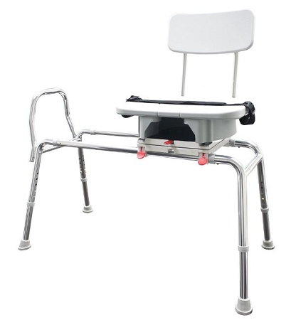 Snap-N-Save Sliding Transfer Bench with Cut-Out Swivel Seat Long