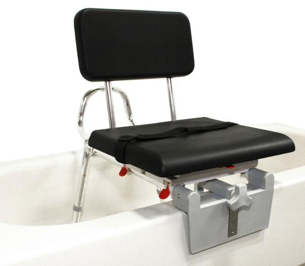 Sliding Tub-mount Transfer Bench with Padded Swivel Seat & Back
