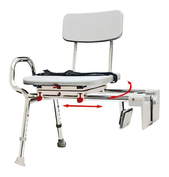 Sliding Tub Mount Transfer Bench With Swivel Seat