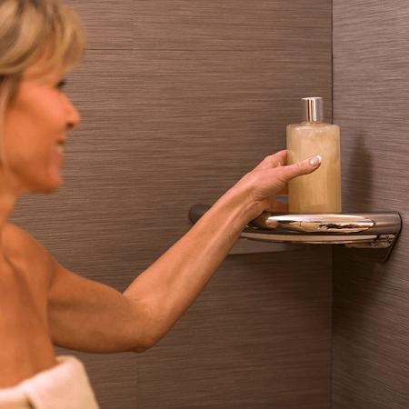 Invisia Corner Shower Shelf with Integrated Handrail