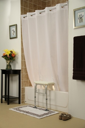 Bench Buddy Hookless Shower Curtain Simplicity :: for tub transfer ...