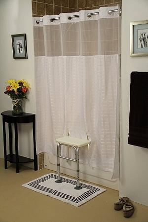 Bench Buddy Hookless Shower Curtain Whitaker Transfer