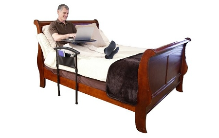 Standers Independence Bed Table Is A Bed Safety Rail With A Tray Table That  Swivels.
