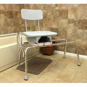 Eagle Snap-N-Save Sliding Transfer Bench with Cut-Out Swivel Seat