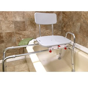 Extra Long Sliding Transfer Bench with Molded Swivel Seat