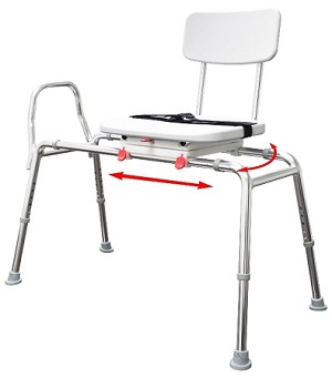 NEW! Extra Long Sliding Transfer Bench with Molded Swivel Seat