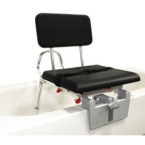 Sliding Tub-mount Transfer Bench with Padded Swivel Seat & Back
