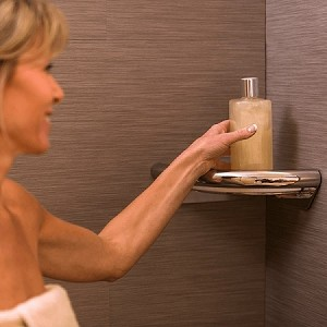 Invisia Corner Shower Shelf with Integrated Handrail